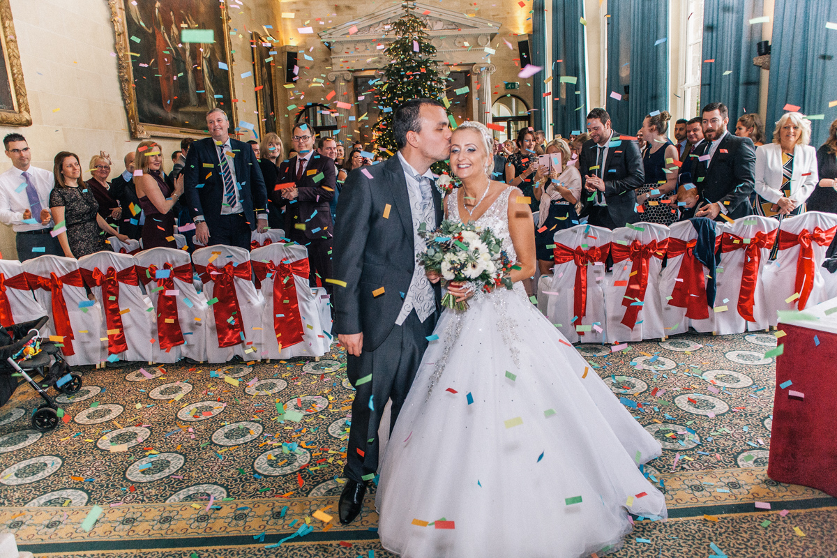 bride and groom confetti shot