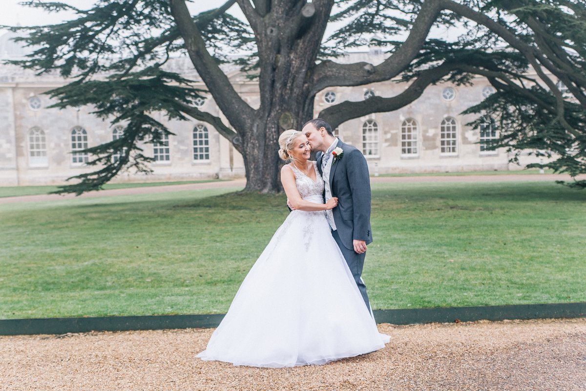 bride and groom outside portrait