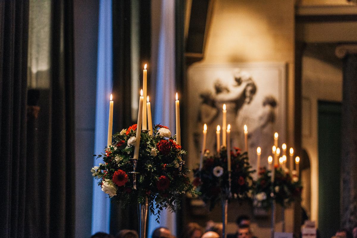 wicker candles wedding decor