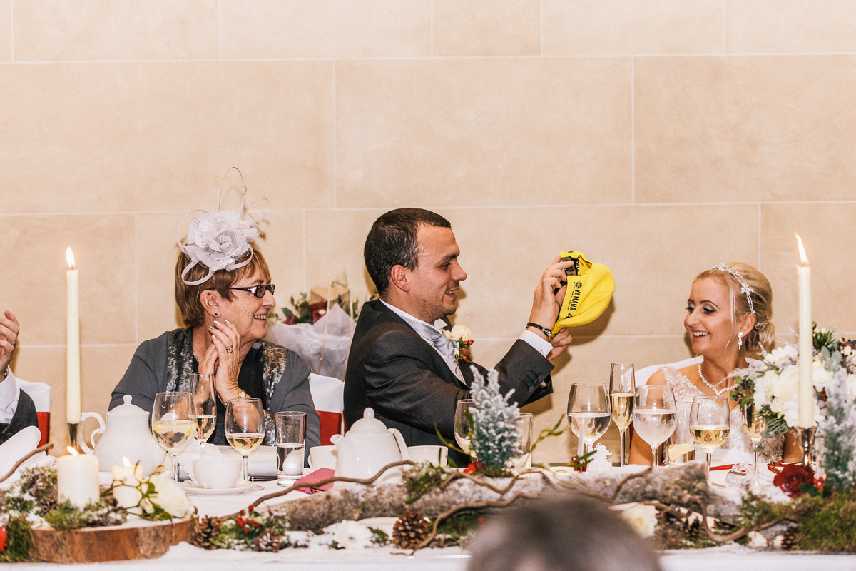 bride and grooma at top table