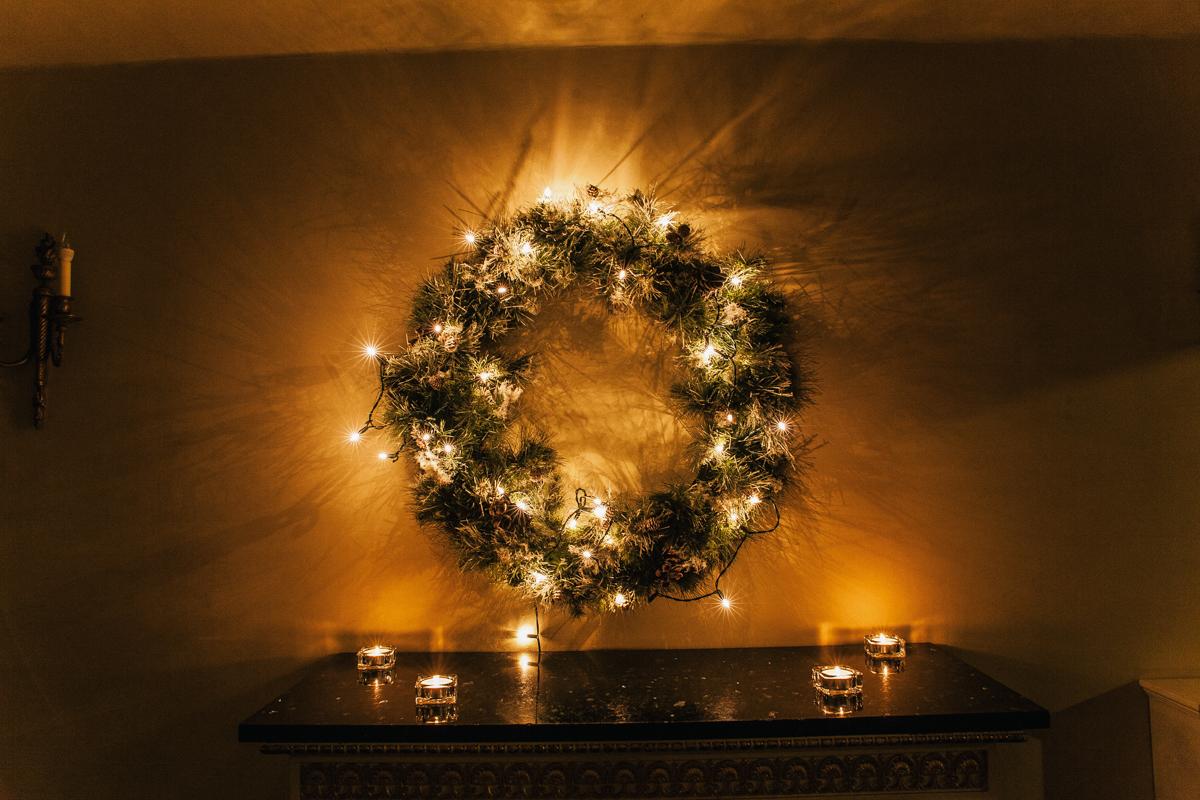 christmas wreath at wedding